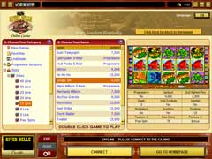 The Games Lobby of the River Belle Online Casino