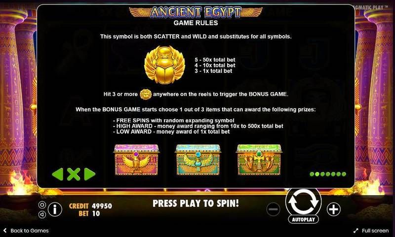 Ancient Egypt Pragmatic Play Slot Bonus 1, Free Spins Feature