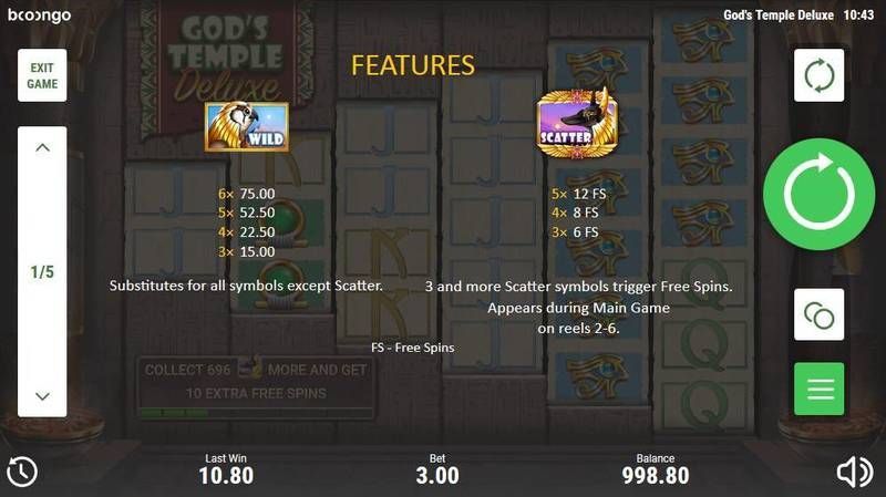 Gods Temple Deluxe Booongo Slot Bonus 1, Free Spins Feature