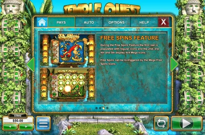 Temple Quest Spinfinity Big Time Gaming Slot Bonus 1, Free Spins Feature