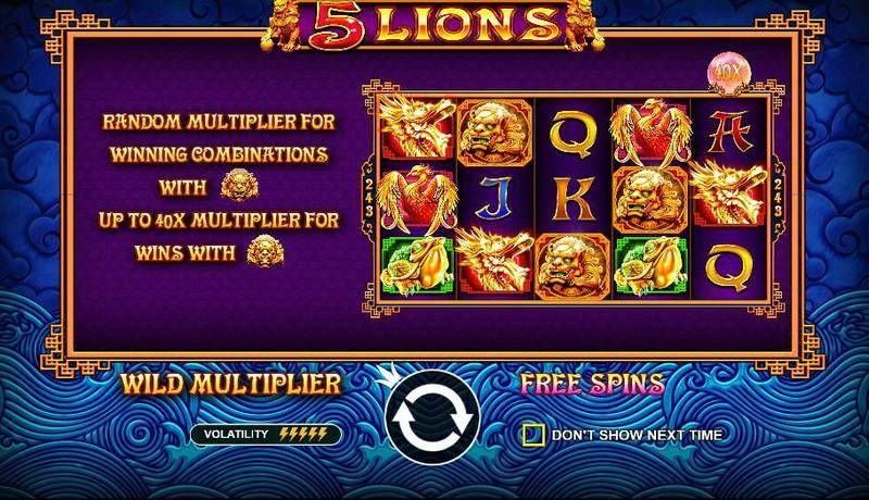 5 Lions Pragmatic Play Slot Bonus 2