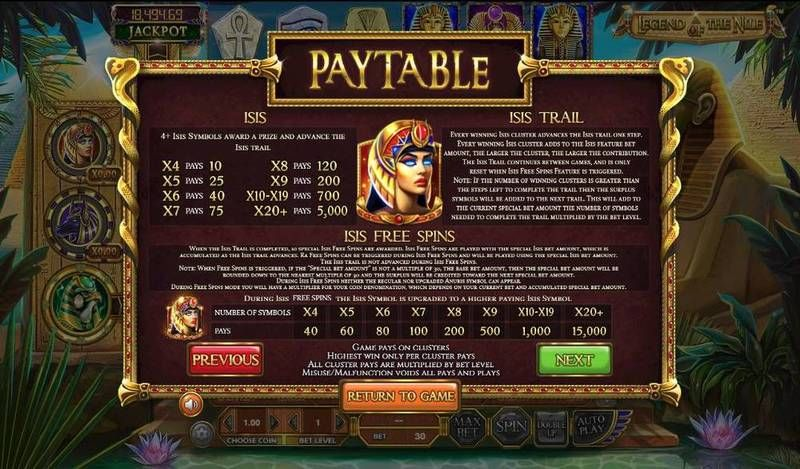 Legend of the Nile BetSoft Slot Bonus 2, Free Spins Feature