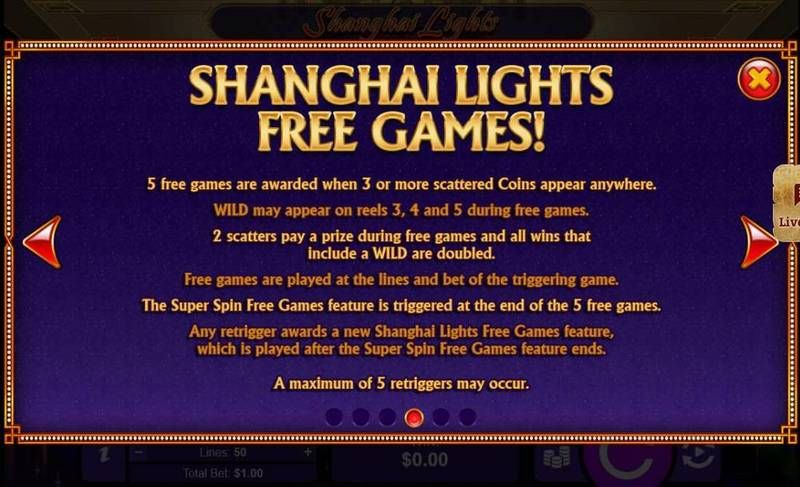 Shanghai Lights RTG Slot Free Spins Feature