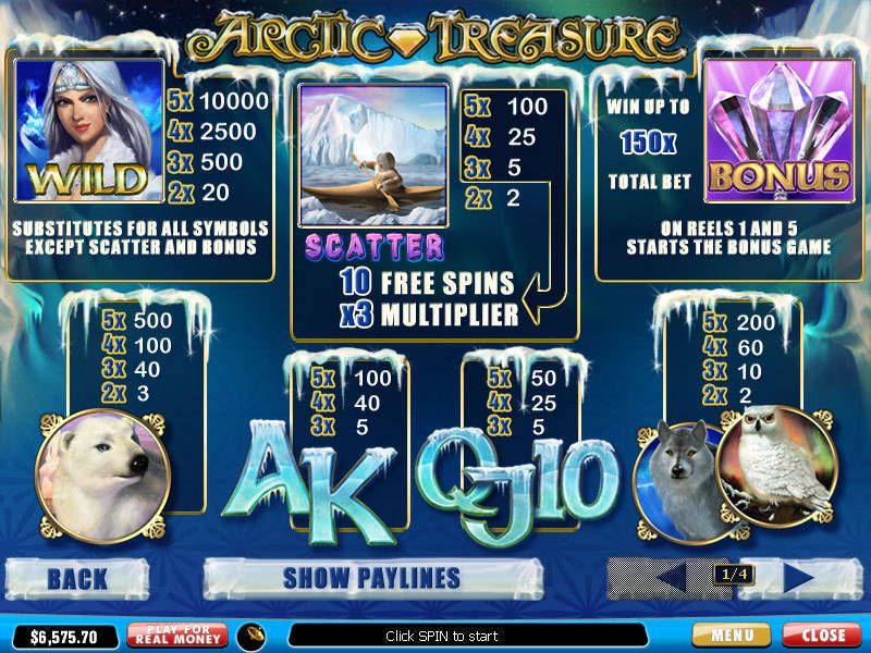 Arctic Treasure is a 5-reel, payline online slot from developer, Playtech.Players can win 10 free spins with a 3x multiplier in the bonus round.Slots Directory5/5.Birecik