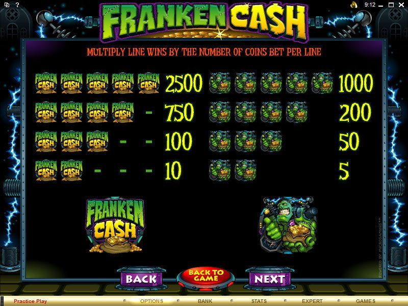 Franken Cash Slots 5 Reel 20 Line By Microgaming