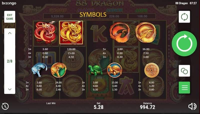 88 Dragon Booongo Slot Paytable