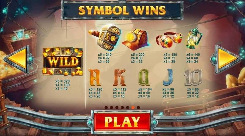 Treasure Mine Red Tiger Gaming Slot Paytable