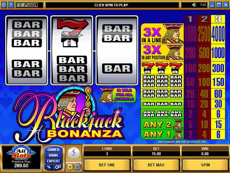 Blackjack Bonanza Microgaming Slot Slot Reels